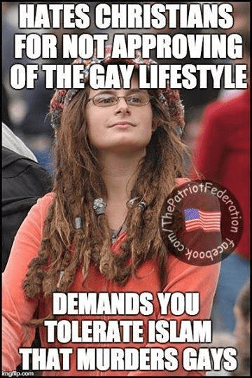 Hates Christians loves gays supports Islam