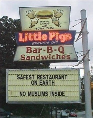 Restaurant No Muslims inside