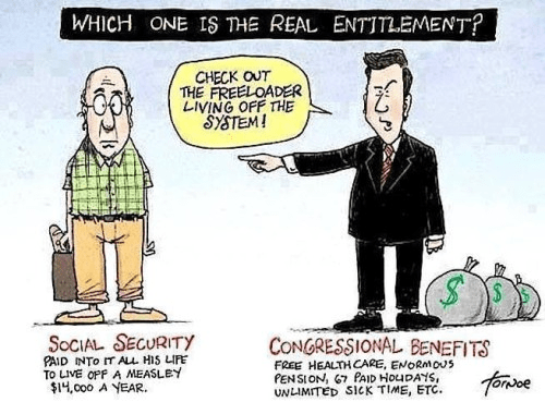 Entitlement retired people and congress people