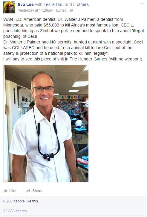 American dentist, Dr. Walter J Palmer, a dentist