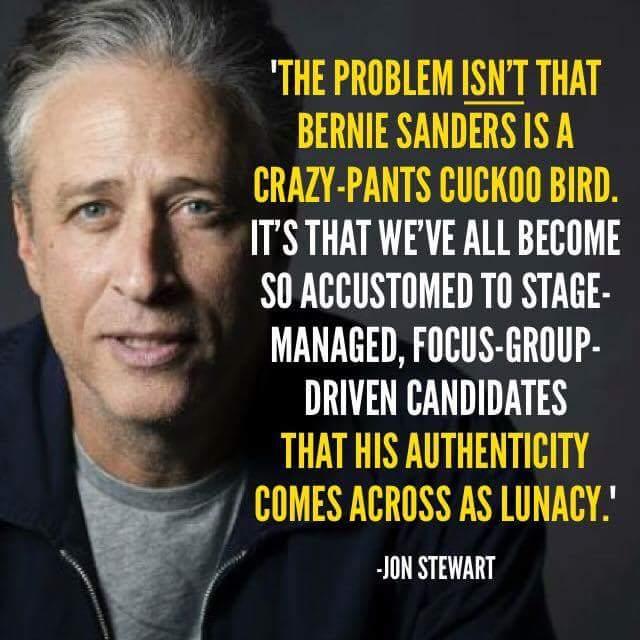 Jon Stewart on Sanders' authenticity