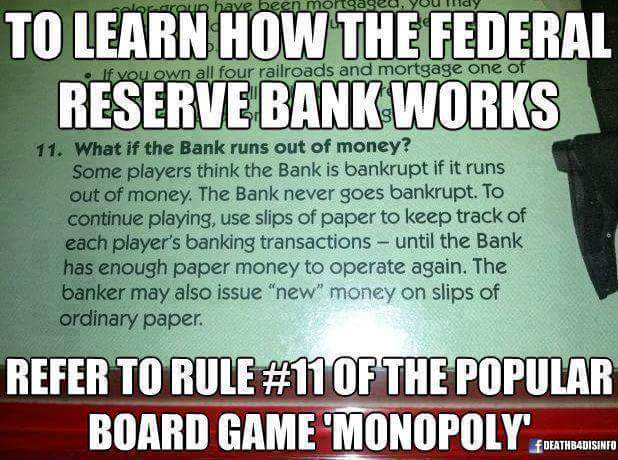 Federal Reserve Bank Monopoly Money