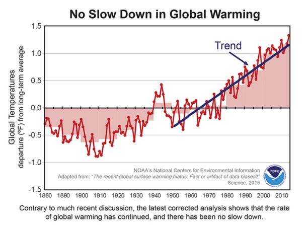 Chart on NOAA numbers showing no temp pause