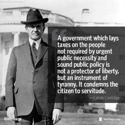 Calvin Coolidge on the tyranny of taxes that do not benefit citizens
