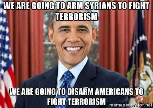 Obama arm Syrian terrorists disarm Americans