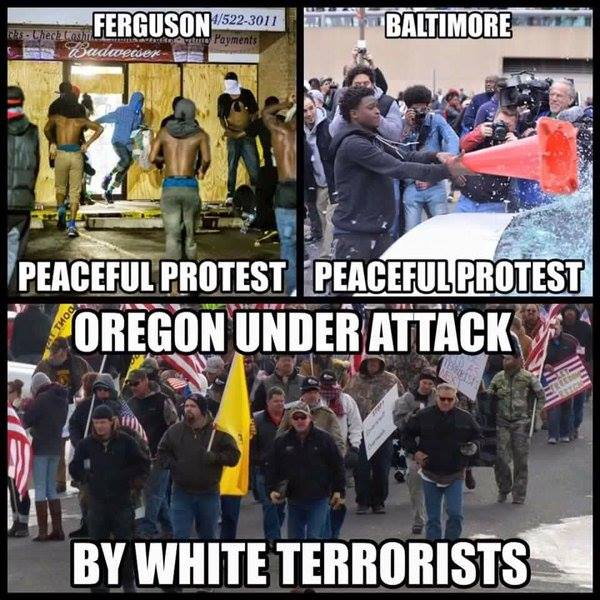 Black violence Baltimore Ferguson and white peaceful protests Oregon