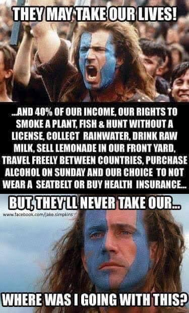 Braveheart on all the things they take