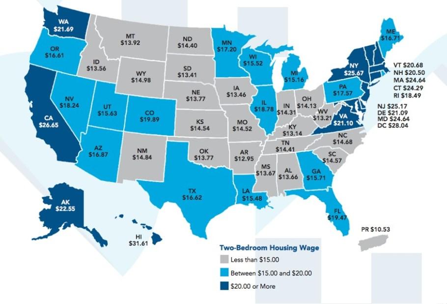 Minimum wage two bedroom apartment