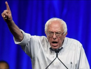 Yelling and pointing Bernie Sanders