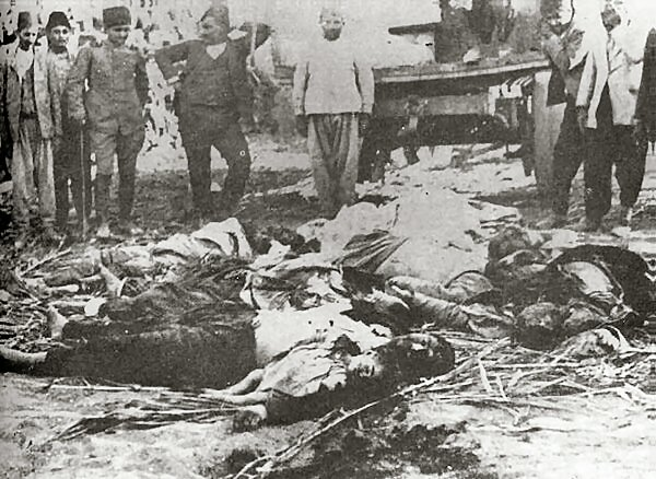 Bodies of unarmed Armenian citizens slaughtered by Turks