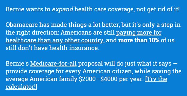 Bernie's healthcare plan