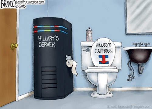 Hillary's server in the toilet