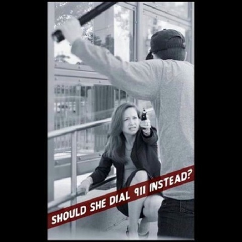 Dailing 911 or using gun when attacked
