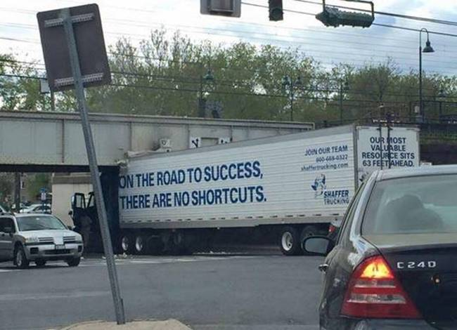 Silly Road to success truck under overpass