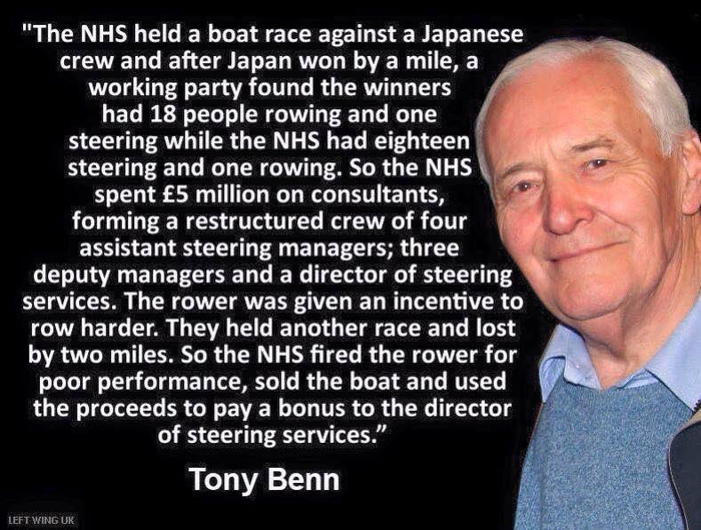 Tony Benn's NHS rowing analogy