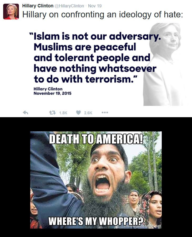 Hillary stupid about Muslim violence