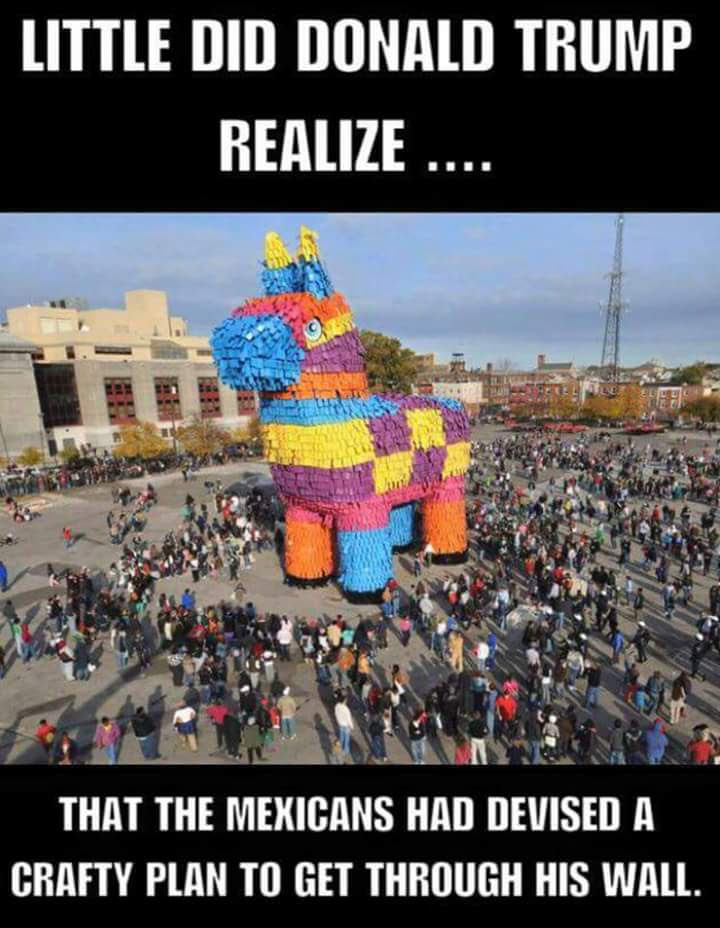 Silly giant pinata to breach Trump's wall