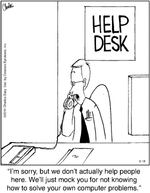 Silly unhelpful desk