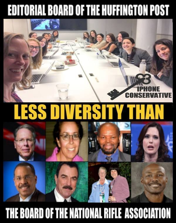 Stupid liberals HuffPo less diversity than NRA
