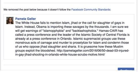 Facebook deletes post Islam Orlando