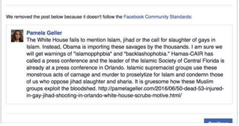 Facebook deletes post Islam Orlando