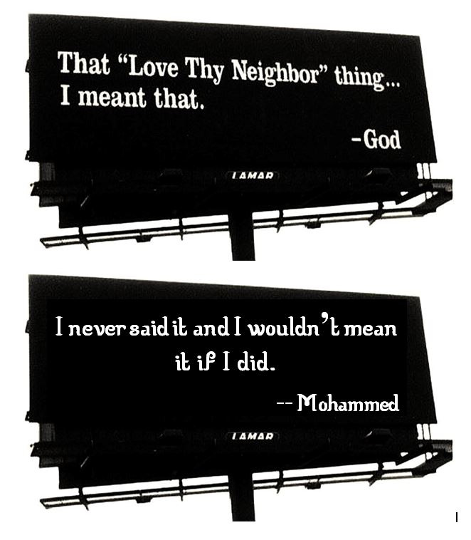 God and Mohammed on loving thy neighbor