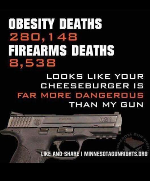 Guns dangerous cheeseburgers