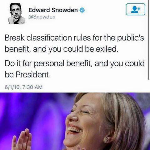 Hillary Edward Snowden on hypocrisy