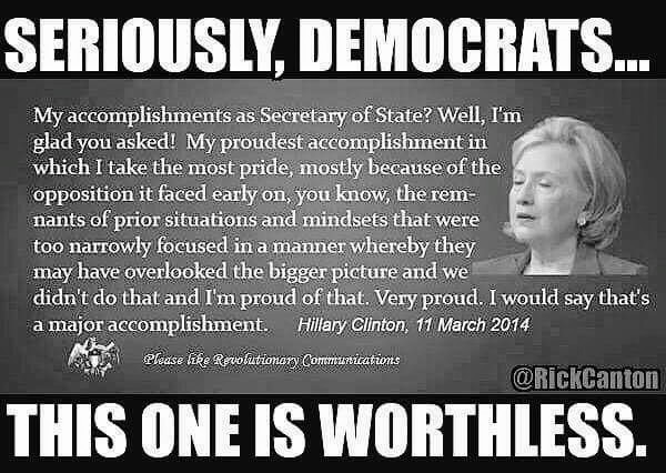 Hillary on her accomplishments