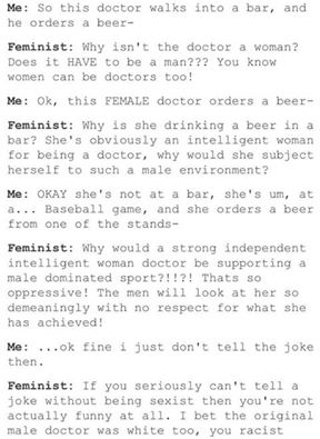 Gender trying to tell feminist a joke