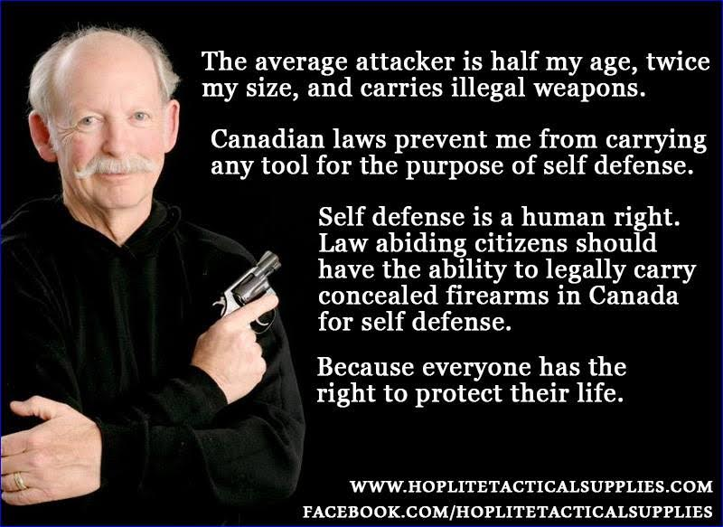 Gun self defense human right Canada