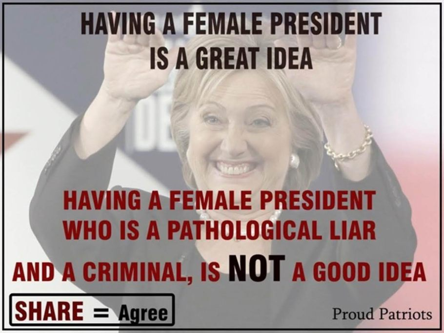 Hillary wrong female for president