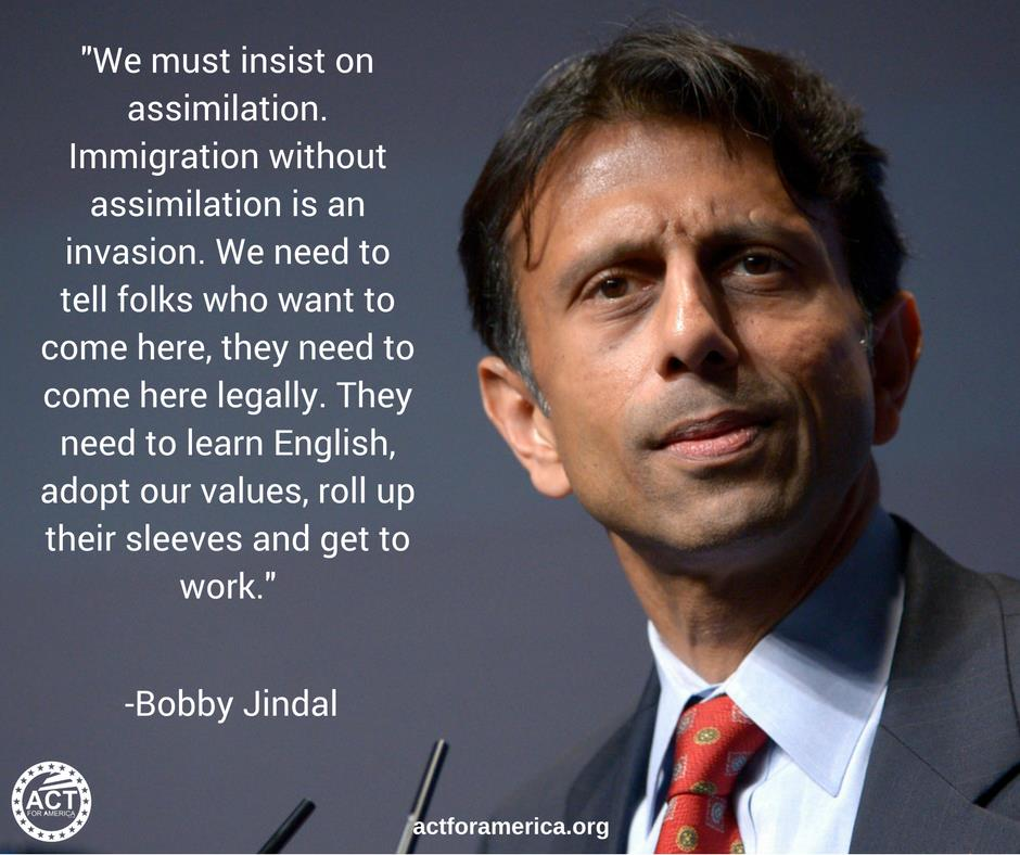 Immigration Jindal on virtues of assimilation