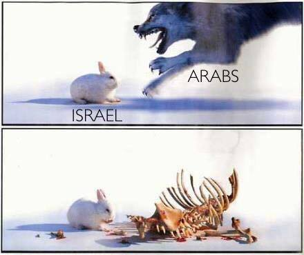 Israel rabbit eats Arab wolf