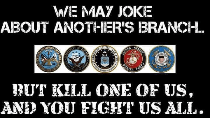 Military jokes but protects other branches