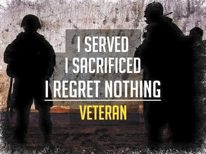 Military veteran no regrets