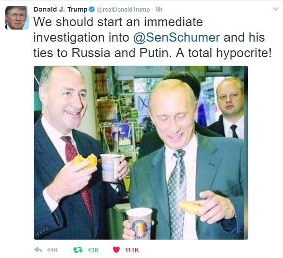 Hypocrite Schumer and Putin
