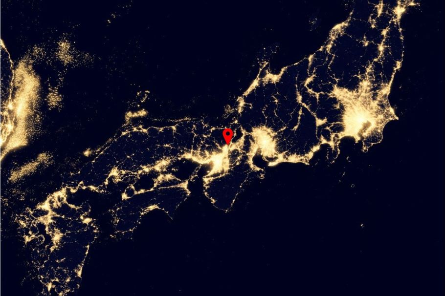 Kyoto on a night satellite image of Japan