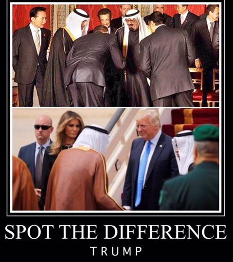 Trump greeted with respect in Saudi Arabia no bows