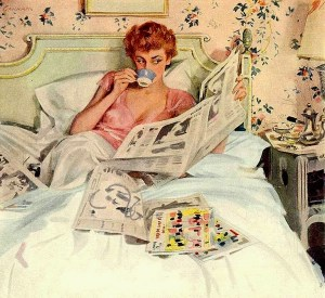 Woman reading interesting news