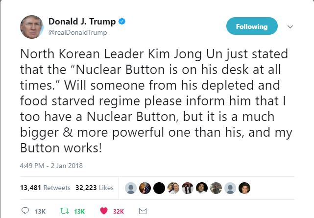 Donald Trump Tweet North Korea