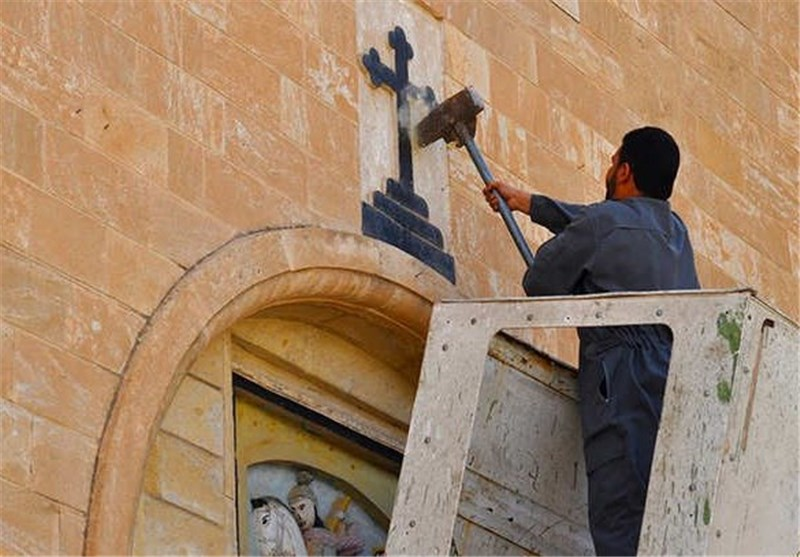 Middle Eastern Christians ISIS destroys church