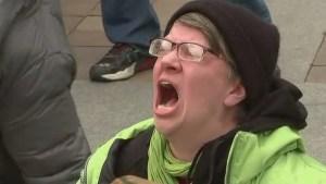 screaming Leftist Progressive woman madness insane