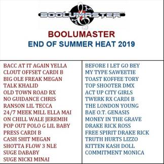 End of Summer 2019 playlist
