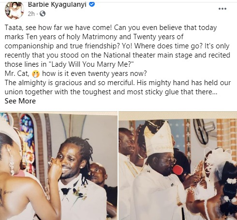 Bobi Wine and Barbie celebrate 10th wedding anniversary, just a day after Nakaseke fracas