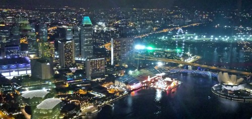 The view of Singapore at night from the Altitude Bar at Raffles Place