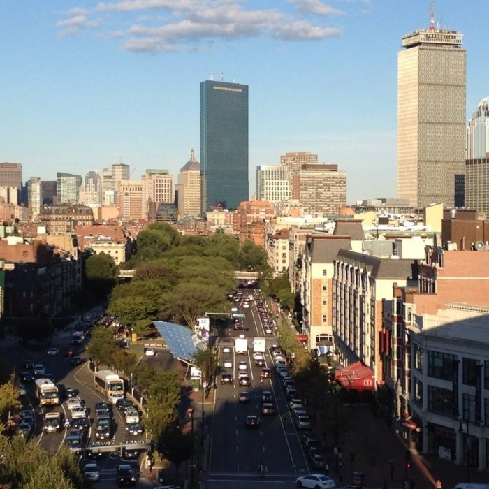 Boston skyline seen from the window of my apartment