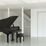 black grand piano in white room