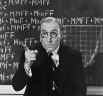 Black & white retro photo of college professor in front of chalk board filled with formulae lecturing on how to lose a bad annuity.
