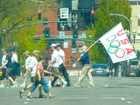 BOOMERPDX FOLLOWS THE FLAG IN DOWNTOWN PORTLAND (image courtesy David Gillaspie)